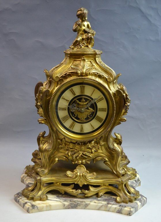 19th C. French Bronze Gilt Clock with Marble Base