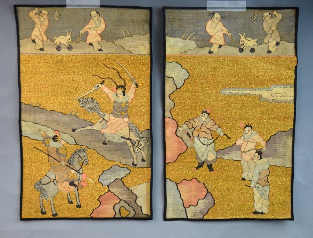 Pair of Chinese Kesi Textile