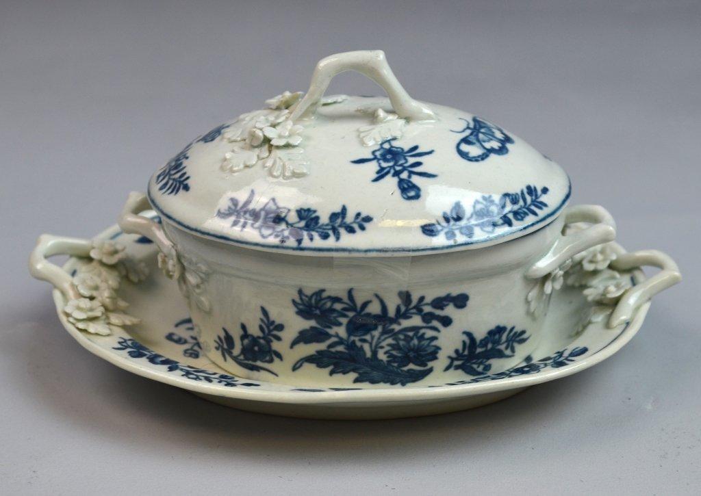 18th C Worcester Porcelain Blue & White Porcelain