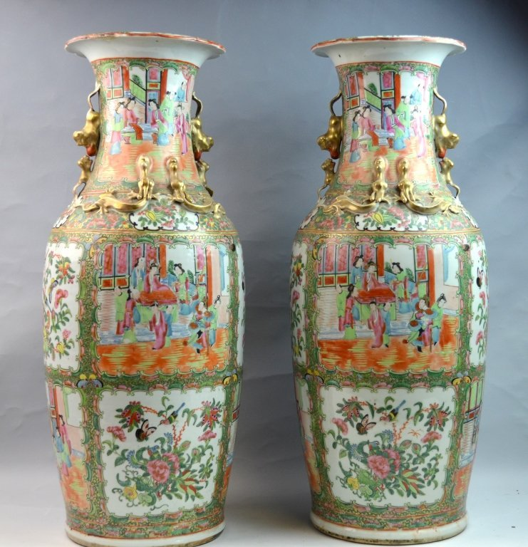 Pair of Canton Rose Medallion Porcelain Vases