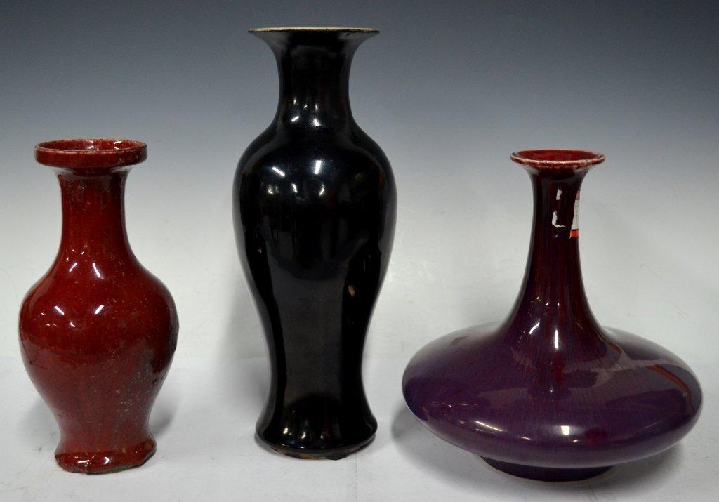 Three Chinese 19th Cen. Monochrome Porcelain Vase