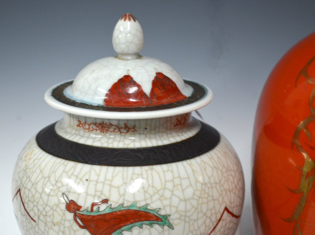 Two Chinese 19th C. Porcelain Jar with Covers - 4