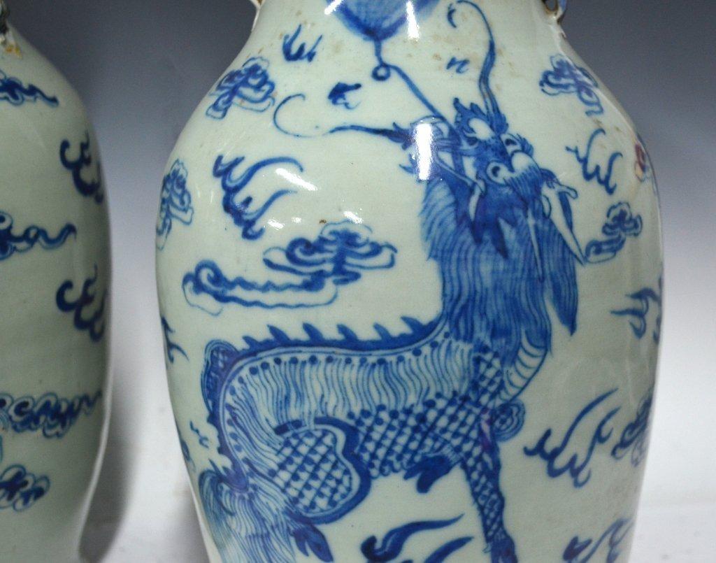 Pr. Chinese 19th Century B&W Porcelain Vases - 2