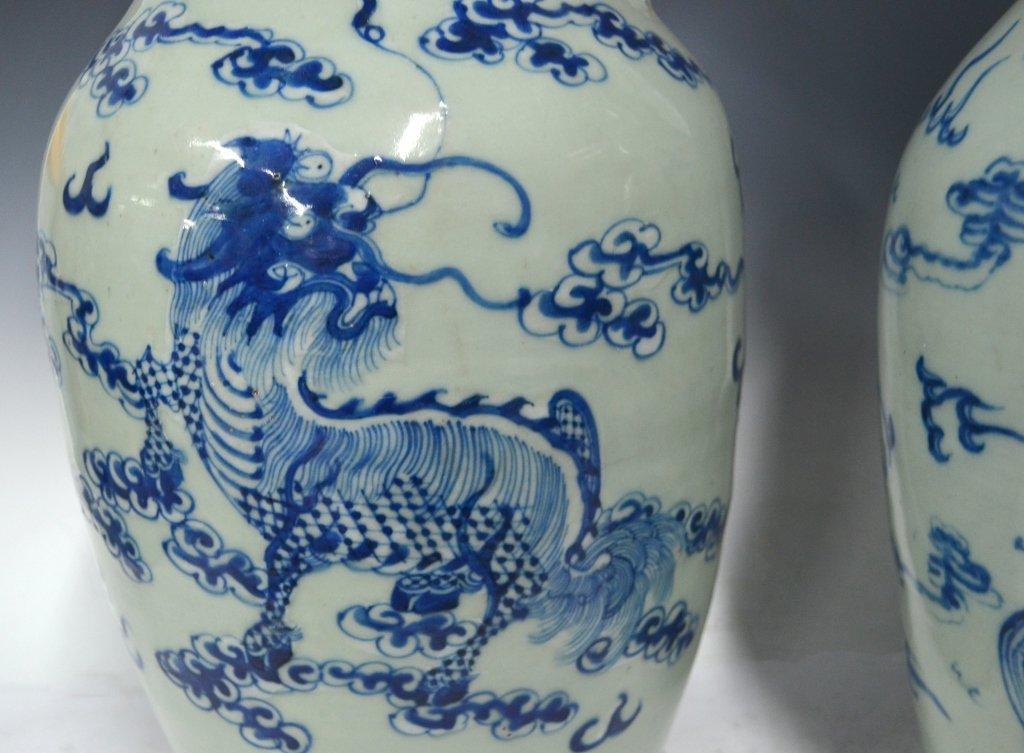 Pr. Chinese 19th Century B&W Porcelain Vases - 3