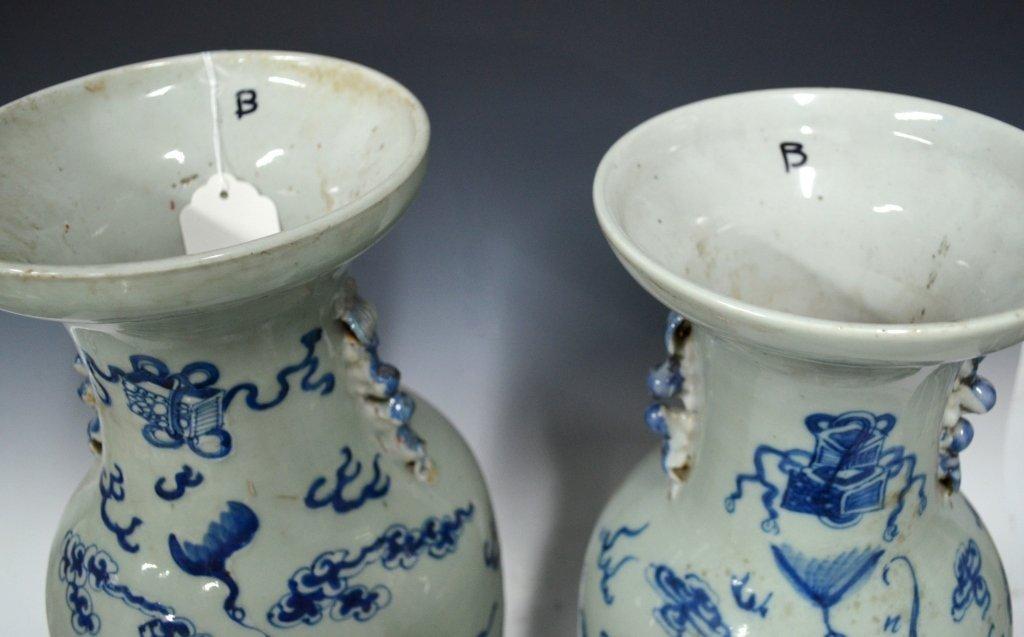 Pr. Chinese 19th Century B&W Porcelain Vases - 4
