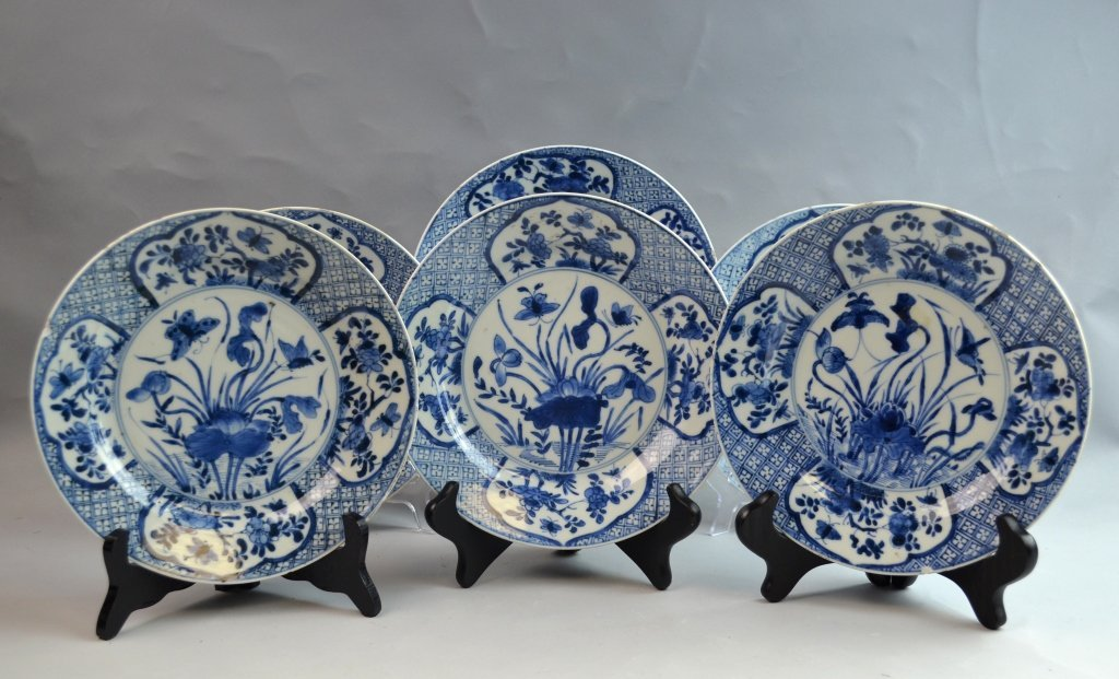 6 Chinese 19th Cen Export Blue and White Diner Plates