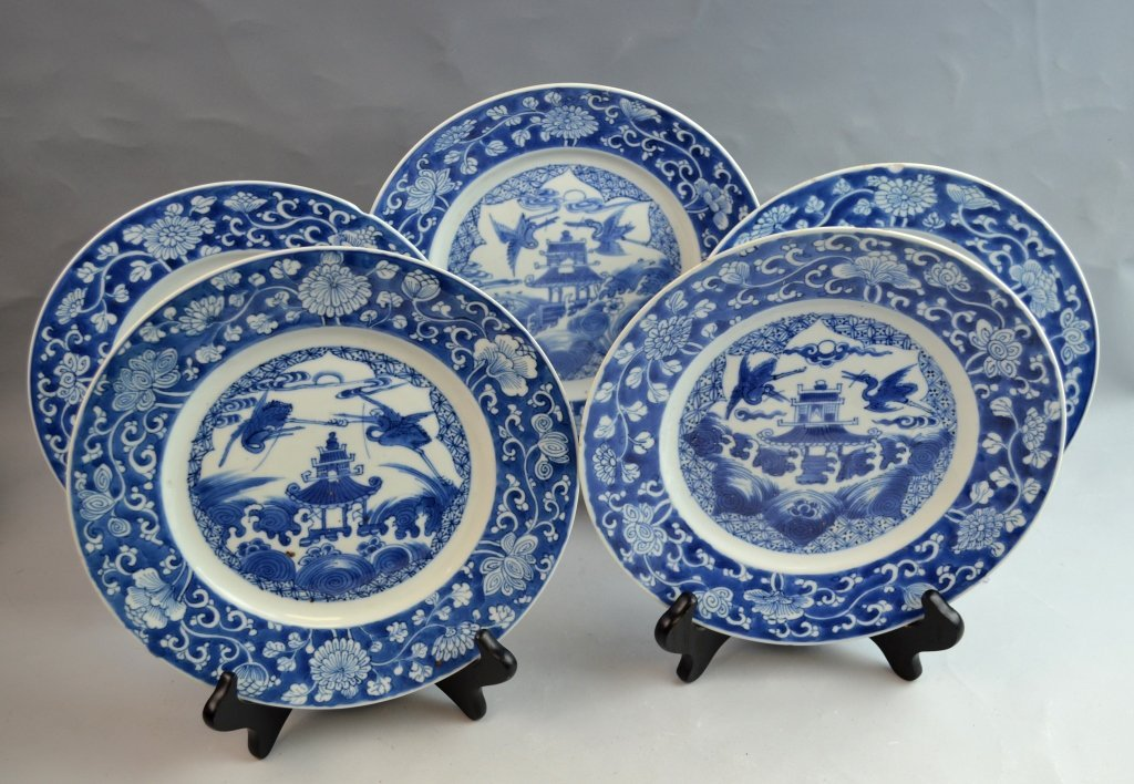5 Pieces 19th Century Chinese B & W Export Plates
