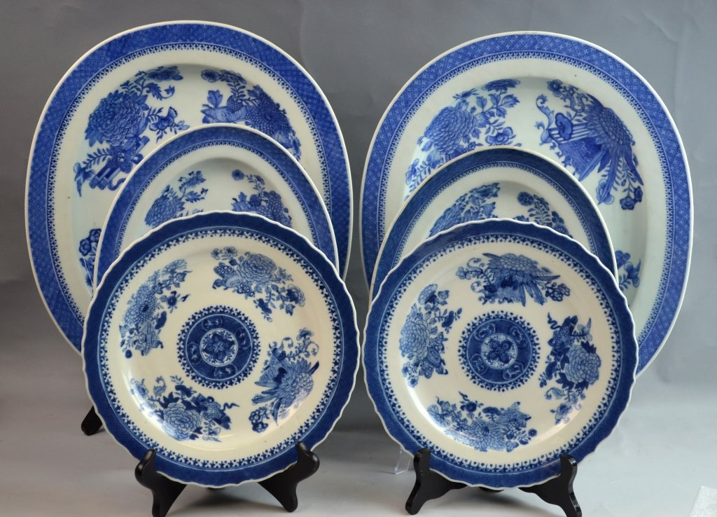 6 pec 19th C. Chinese B&W Export Porcelain Plates