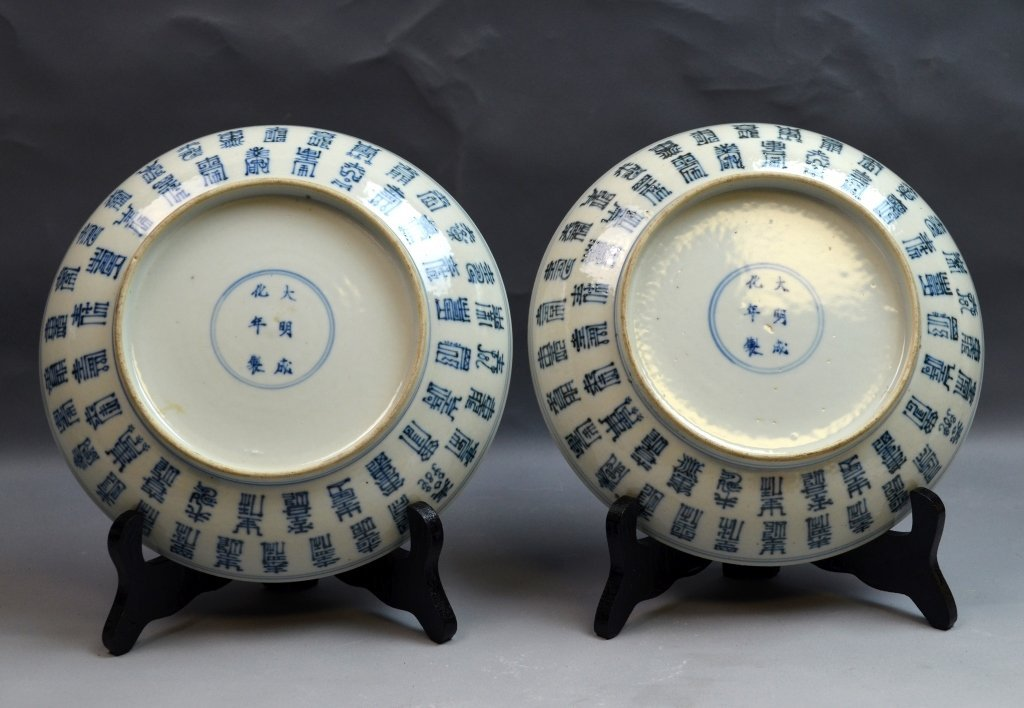 Pair of Chinese Blue and White Porcelain Plates - 4