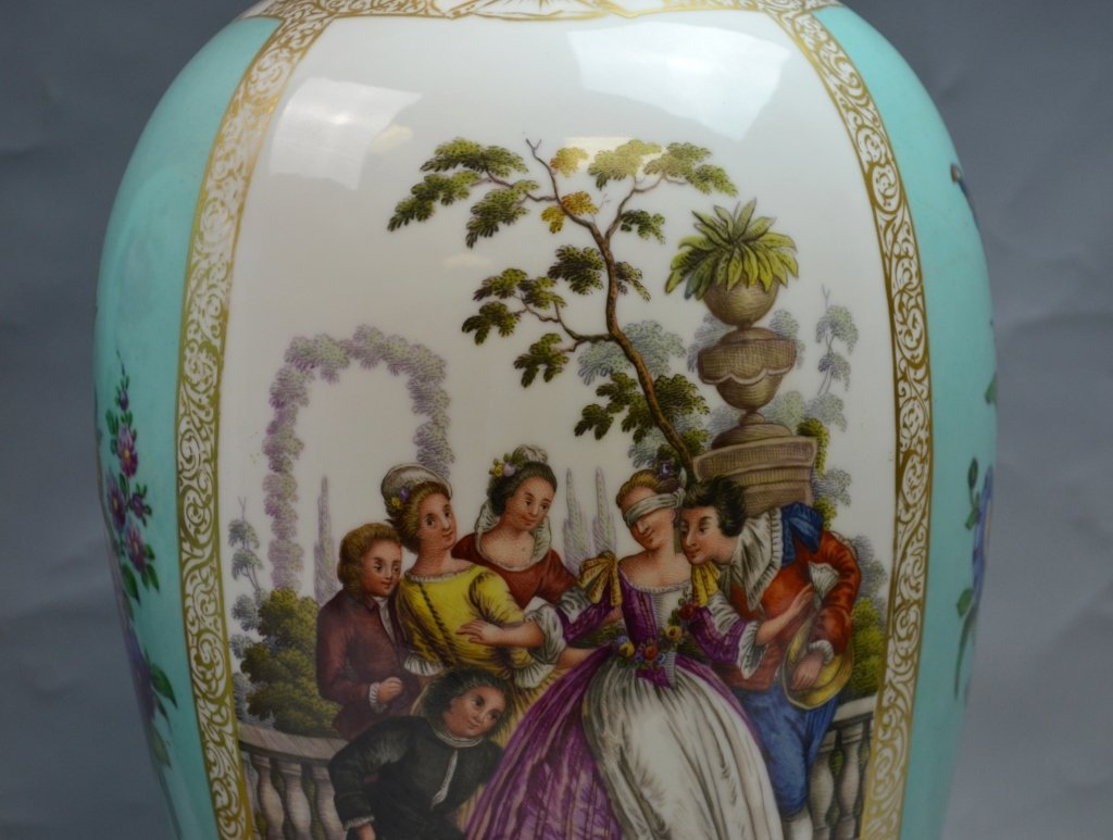 Pair of Large Dresden Hand Painted Vases - 2