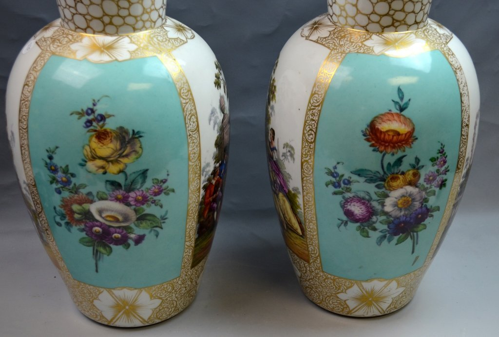 Pair of Large Dresden Hand Painted Vases - 5