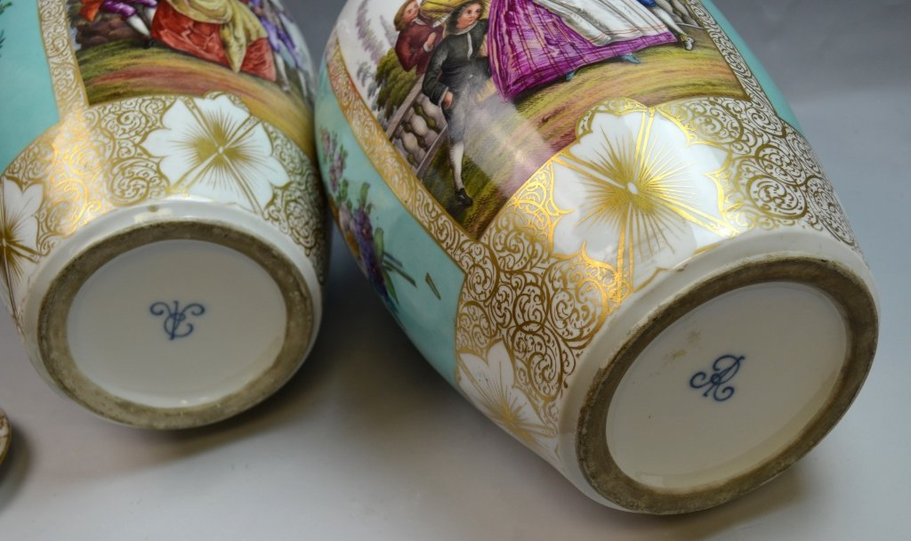 Pair of Large Dresden Hand Painted Vases - 8