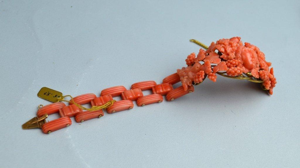 Victoria Coral Carved Bracelet - 7
