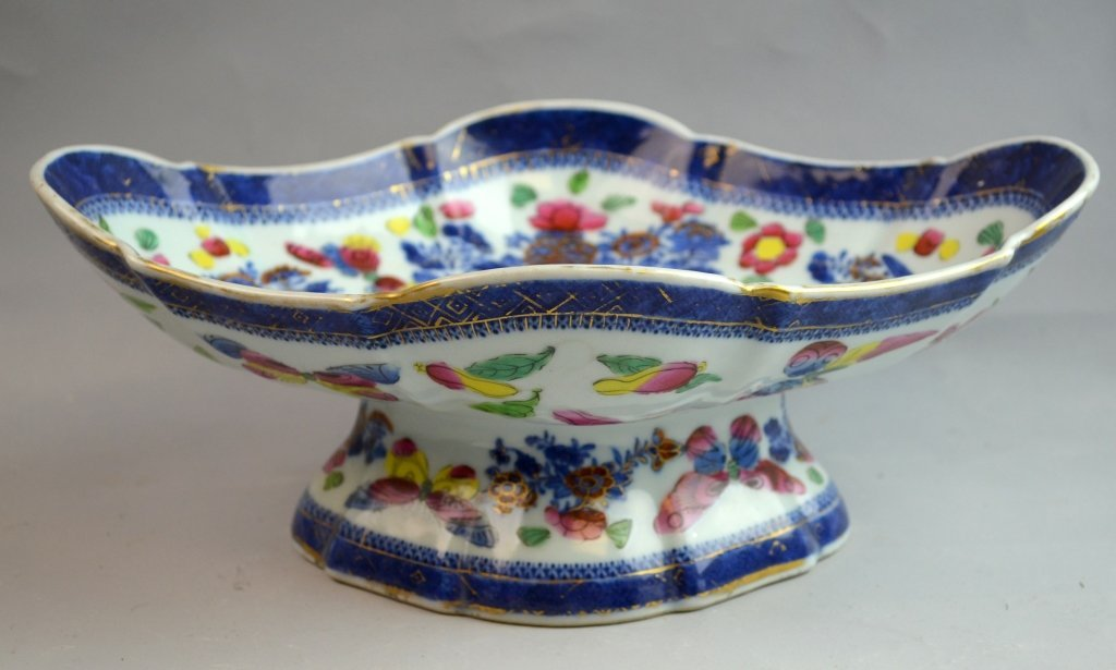 Oval Chinese Blue and White Gold Gilt Stem Bowl