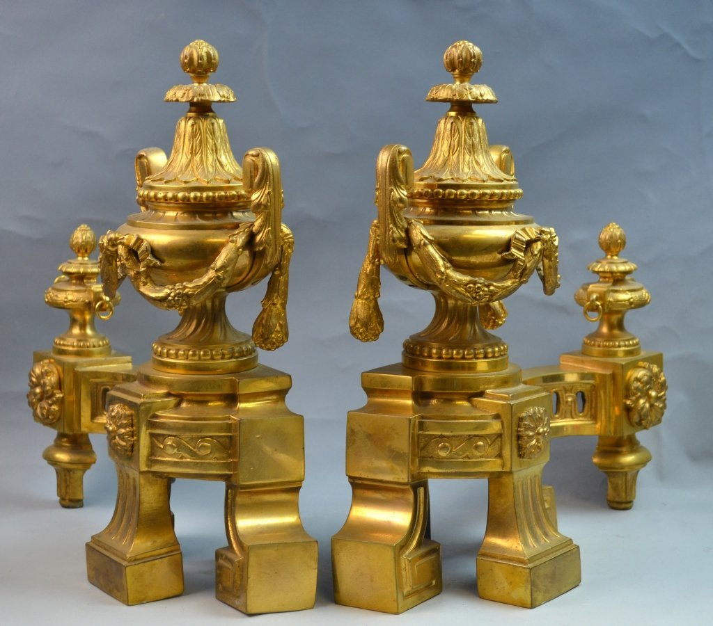 French Gilt Bronze Chenets for the Fireplace