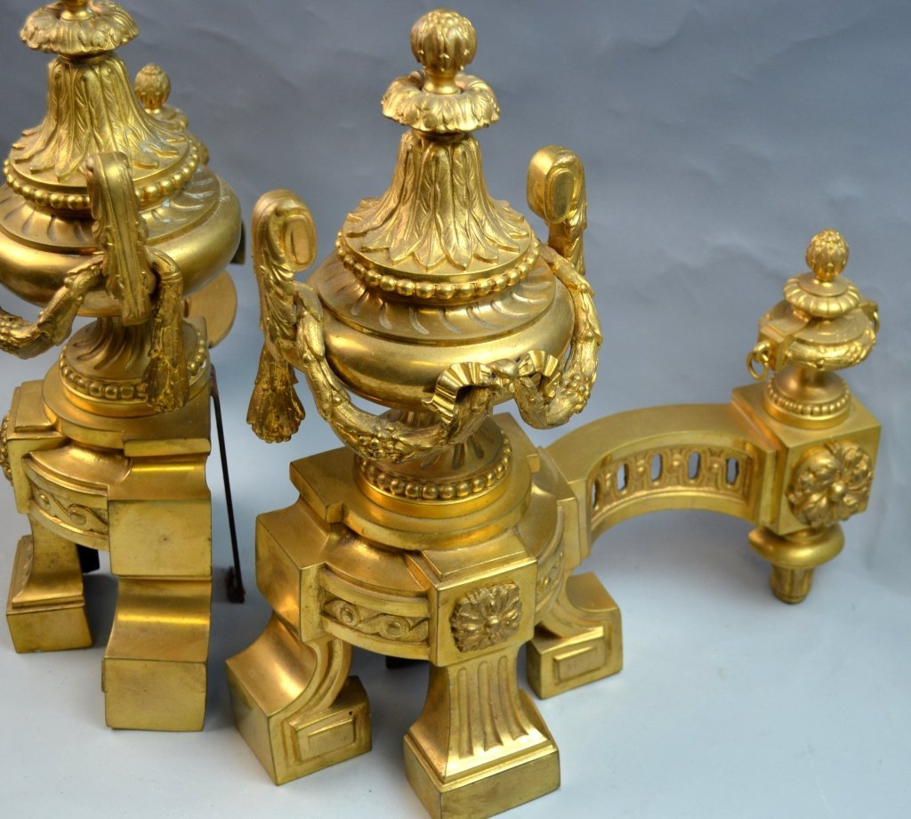 French Gilt Bronze Chenets for the Fireplace - 2