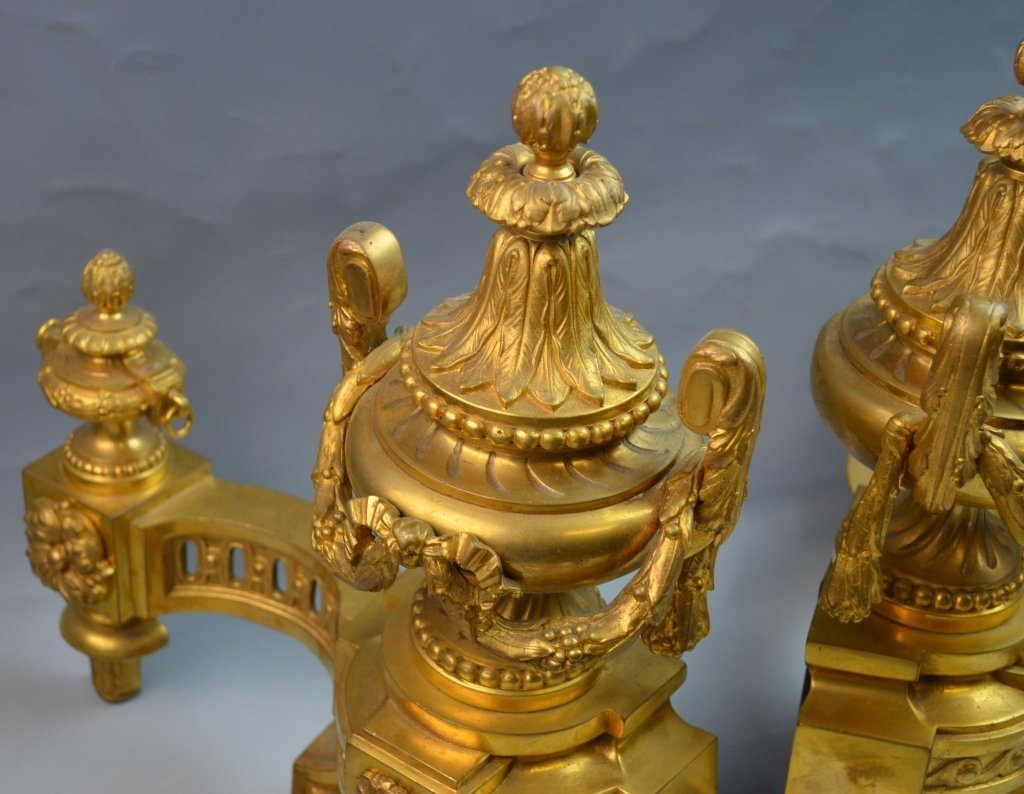 French Gilt Bronze Chenets for the Fireplace - 3