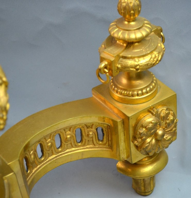 French Gilt Bronze Chenets for the Fireplace - 4