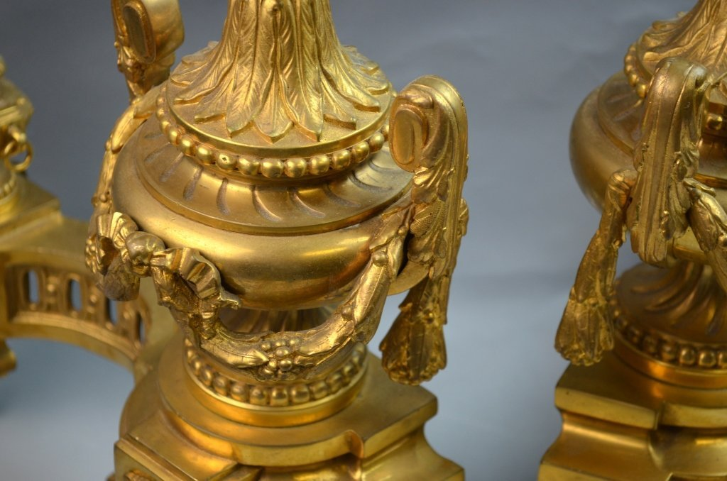 French Gilt Bronze Chenets for the Fireplace - 5