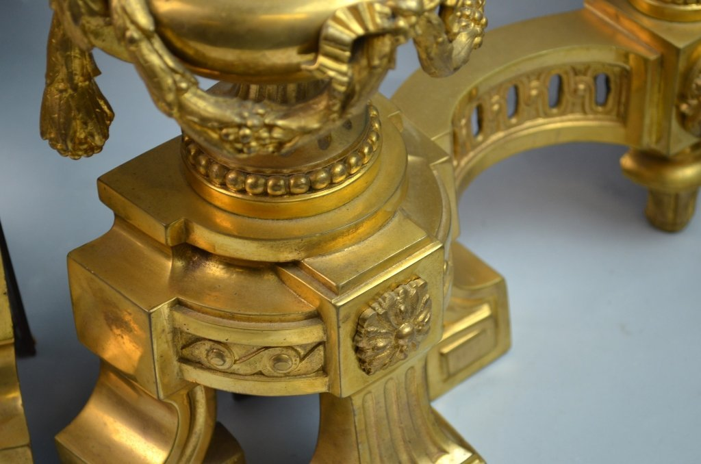 French Gilt Bronze Chenets for the Fireplace - 6