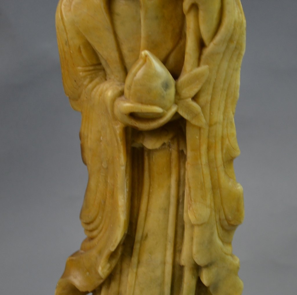 Chinese Soup Stone Carved Longevity Man - 3