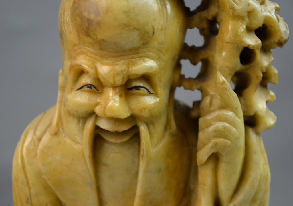 Chinese Soup Stone Carved Longevity Man - 9
