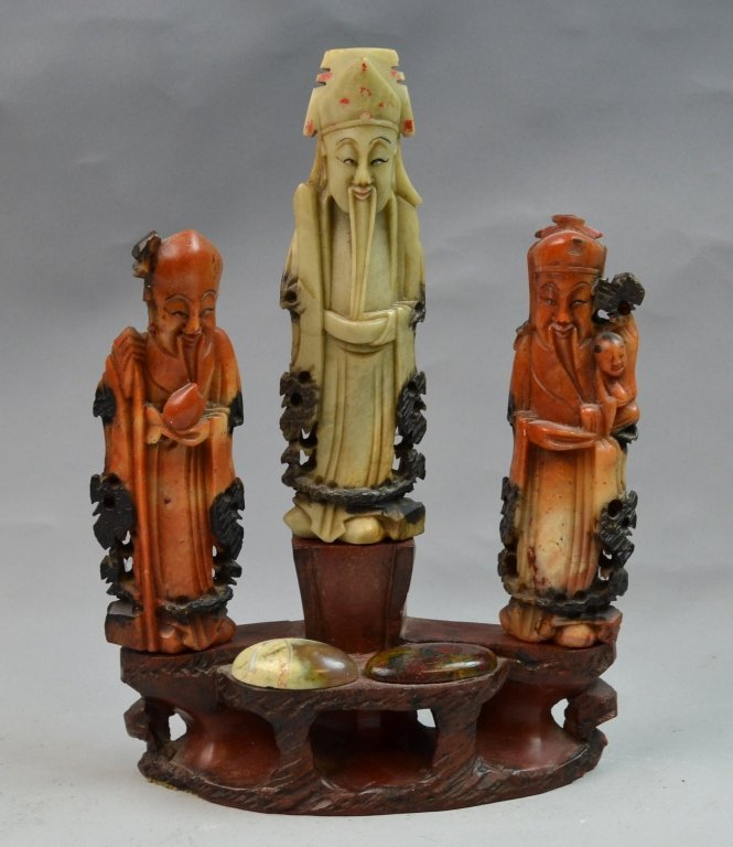 Chinese Soap Stone Carved Three Man Statue