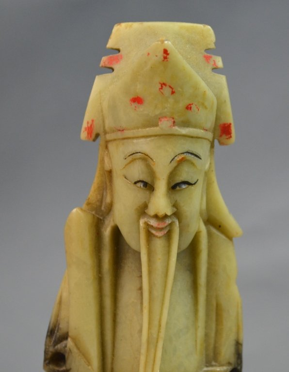 Chinese Soap Stone Carved Three Man Statue - 2