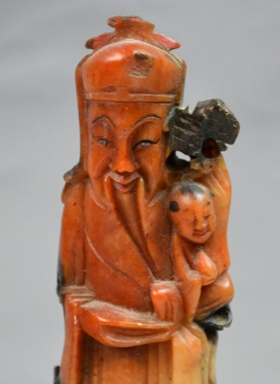 Chinese Soap Stone Carved Three Man Statue - 3