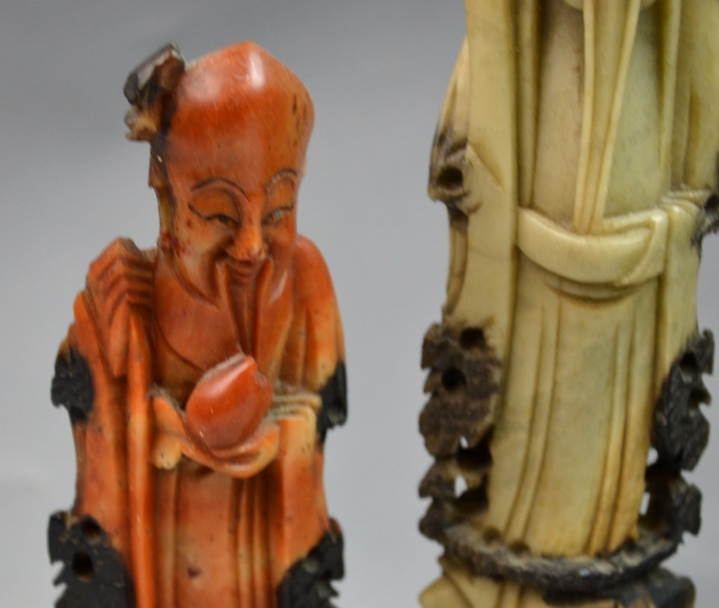 Chinese Soap Stone Carved Three Man Statue - 4