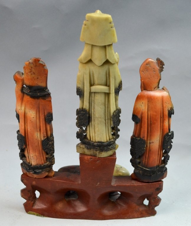 Chinese Soap Stone Carved Three Man Statue - 6