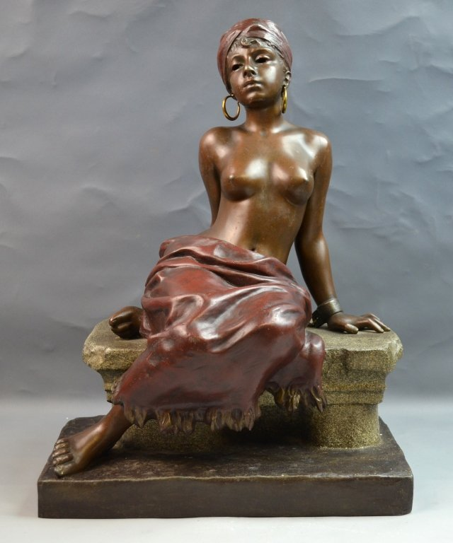White Metal Seated Nude Woman Signed VILLANIS