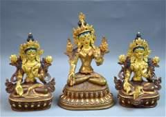 3 Chinese Bronze Gilt Seated Buddha statues