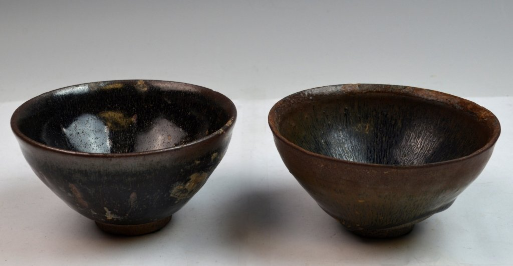 "Two Chinese Jian Ware ""Hare's Fur"" Porcelain Bowls"