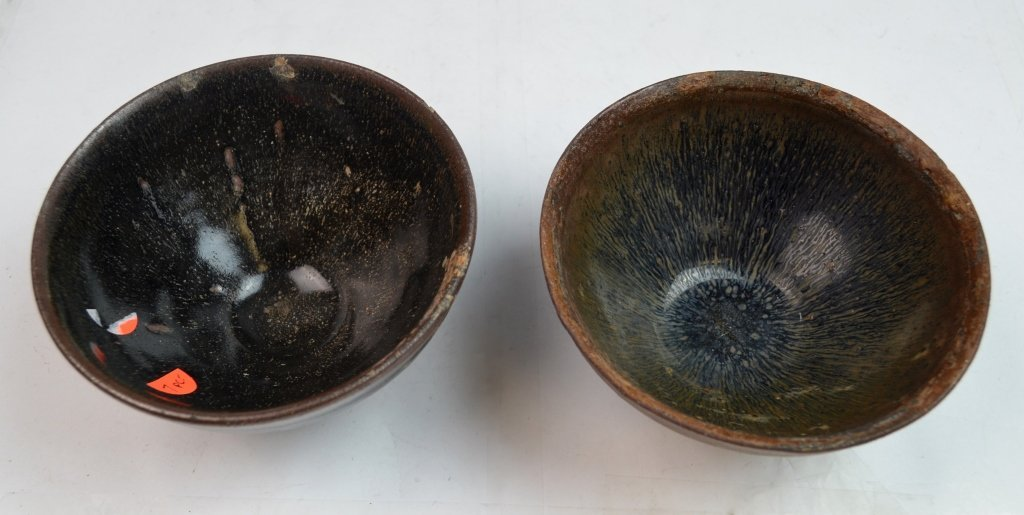 "Two Chinese Jian Ware ""Hare's Fur"" Porcelain Bowls - 2"