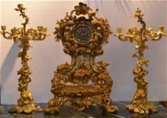 Large Louis XIV Style 3 Pieces Bronze Clock Set