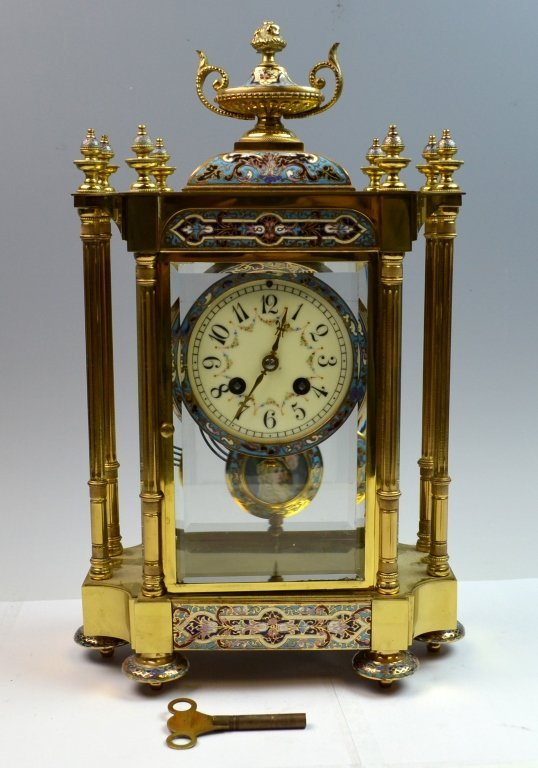 French Bronze and Champleve Enamel  Clock