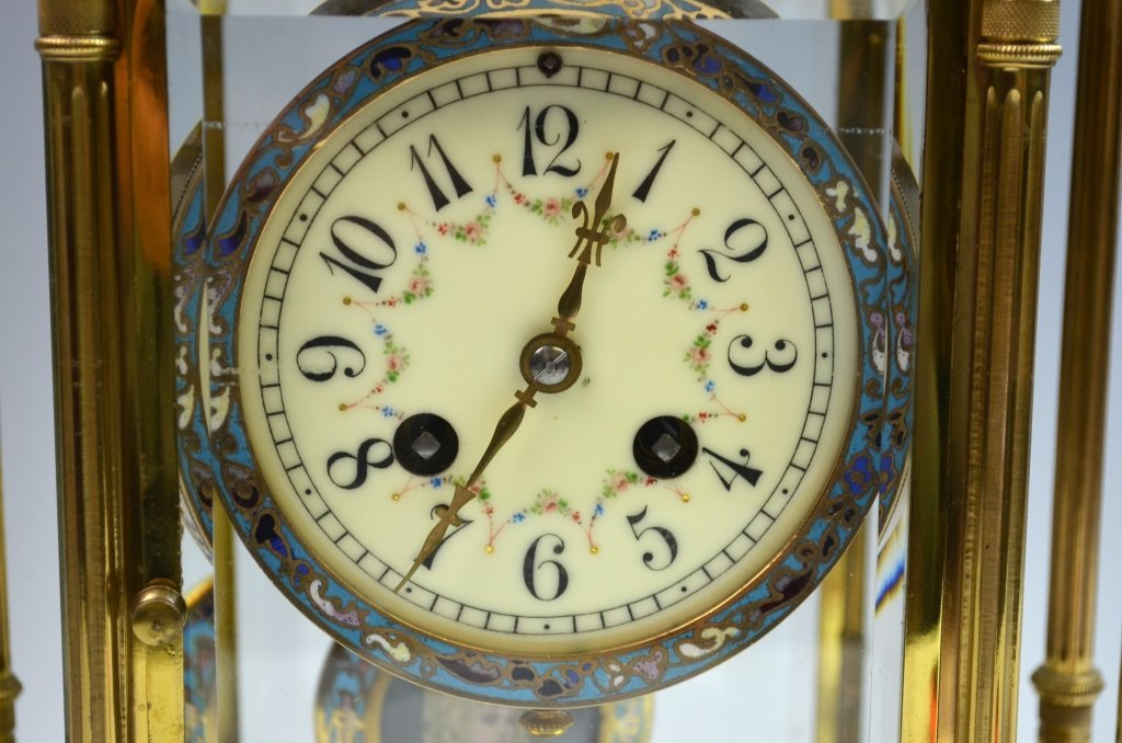 French Bronze and Champleve Enamel  Clock - 2