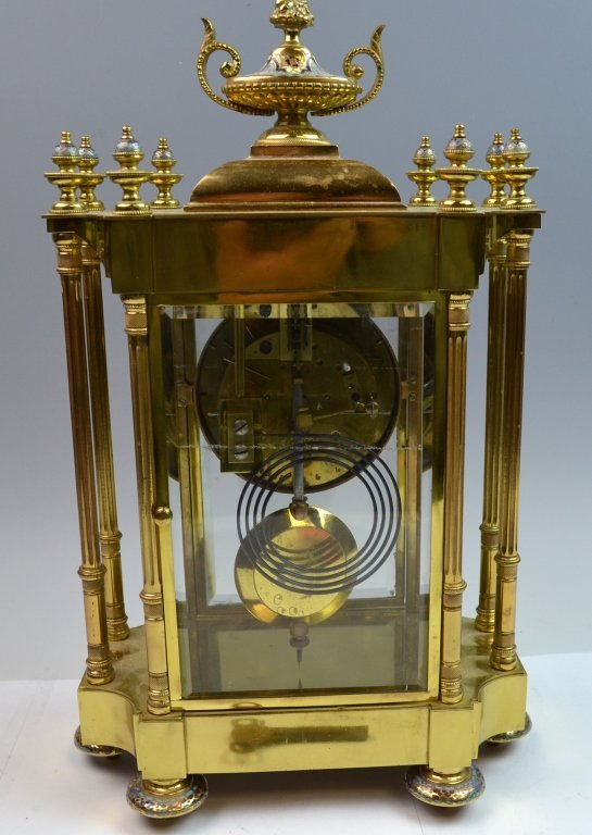 French Bronze and Champleve Enamel  Clock - 7