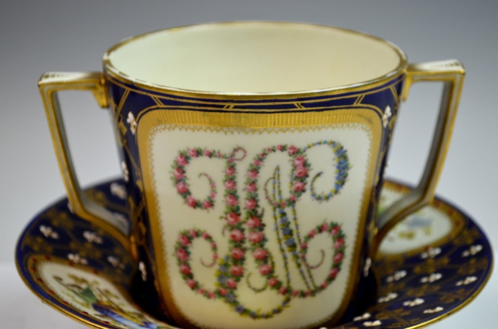 Sevres Double Portrait Jeweled Cup and Saucer - 2