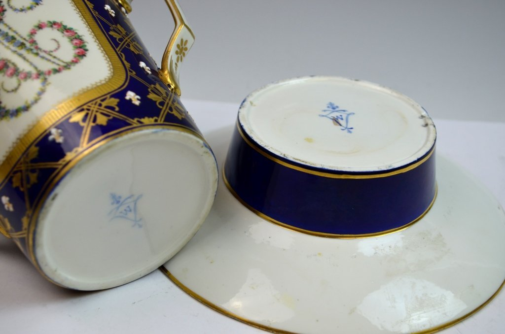 Sevres Double Portrait Jeweled Cup and Saucer - 4