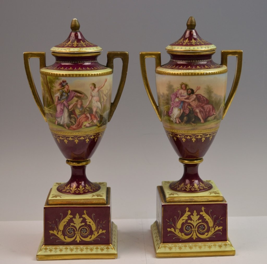 Pair of Royal Vienna Porcelain Vases