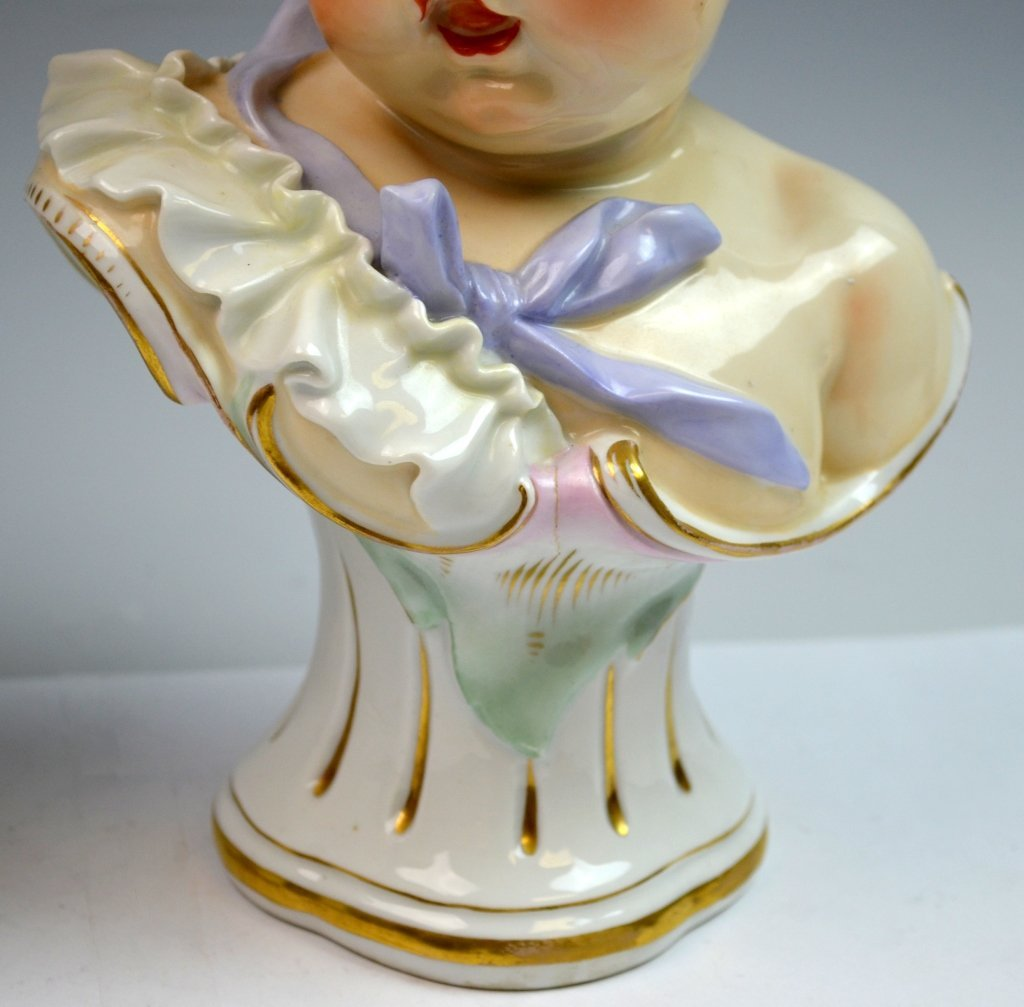 Pair of Meissen Style Bust of Boy and Girl - 3
