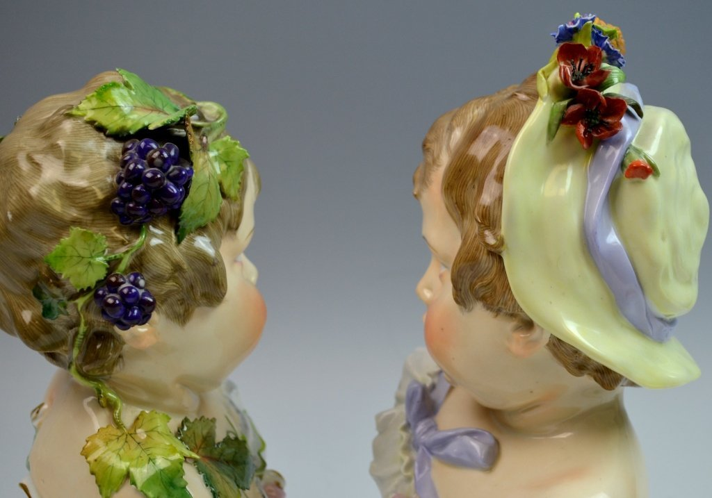 Pair of Meissen Style Bust of Boy and Girl - 6