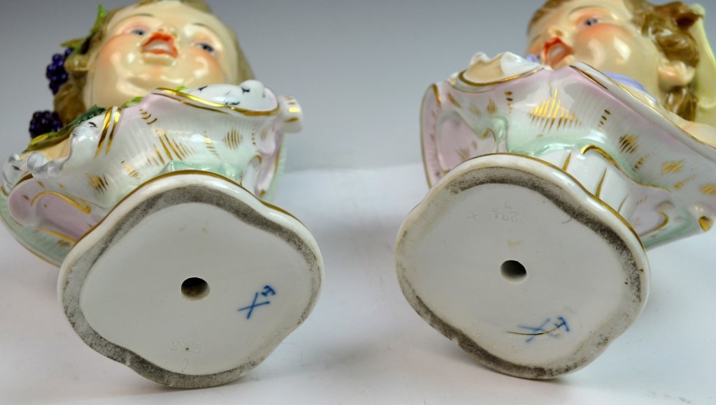 Pair of Meissen Style Bust of Boy and Girl - 8