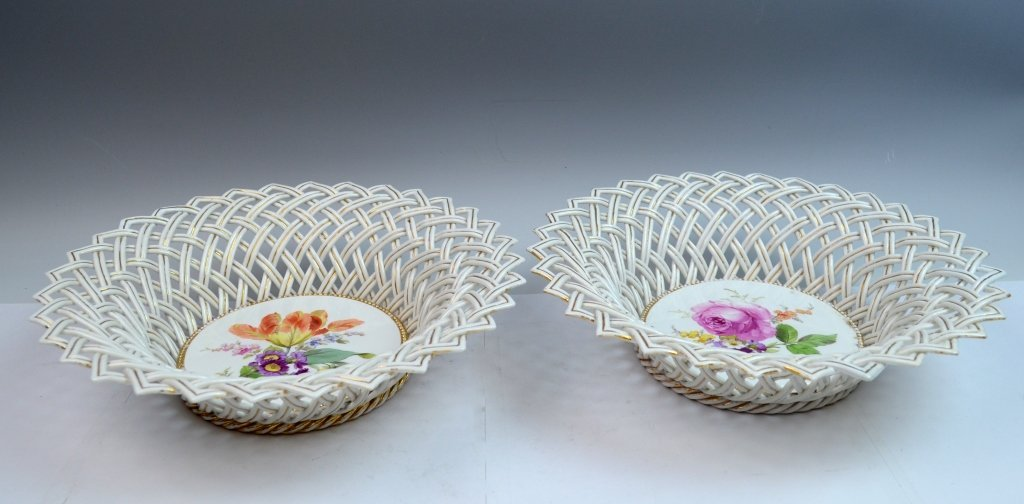 Pair of Meissen Reticulated Porcelain Bowls