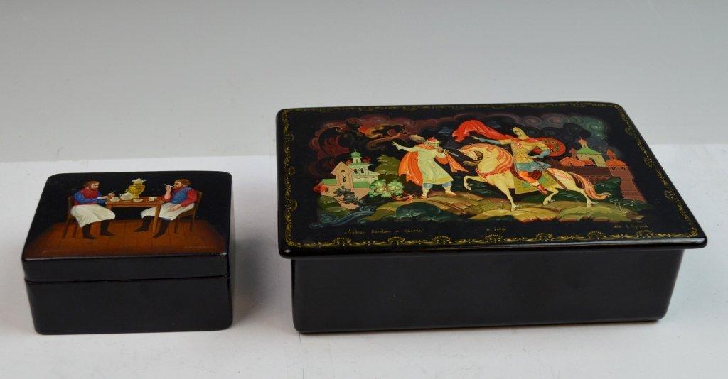 2 Russian Paper Mache Boxes