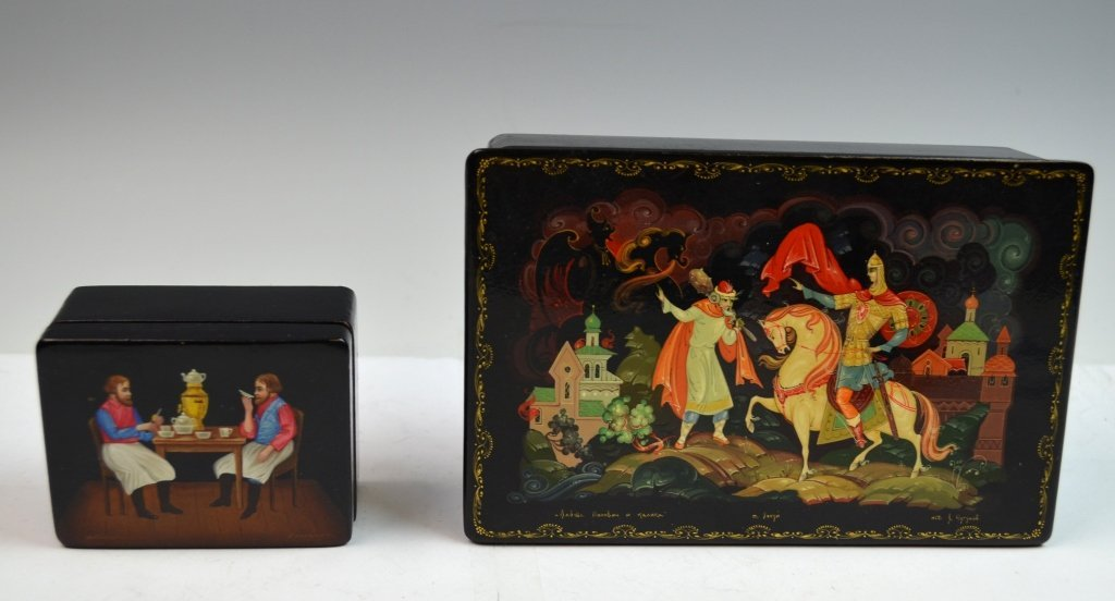 2 Russian Paper Mache Boxes - 2
