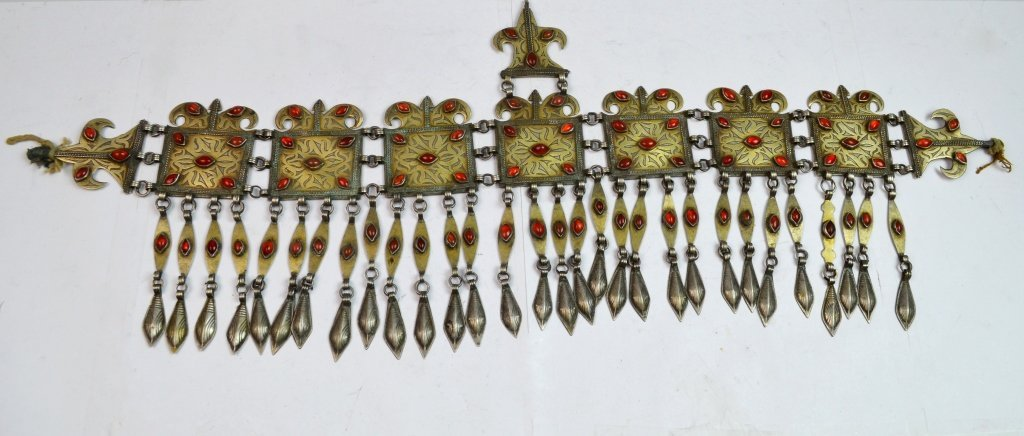 19thC Tribal Silver & Agate Inlaid Hat Decoration
