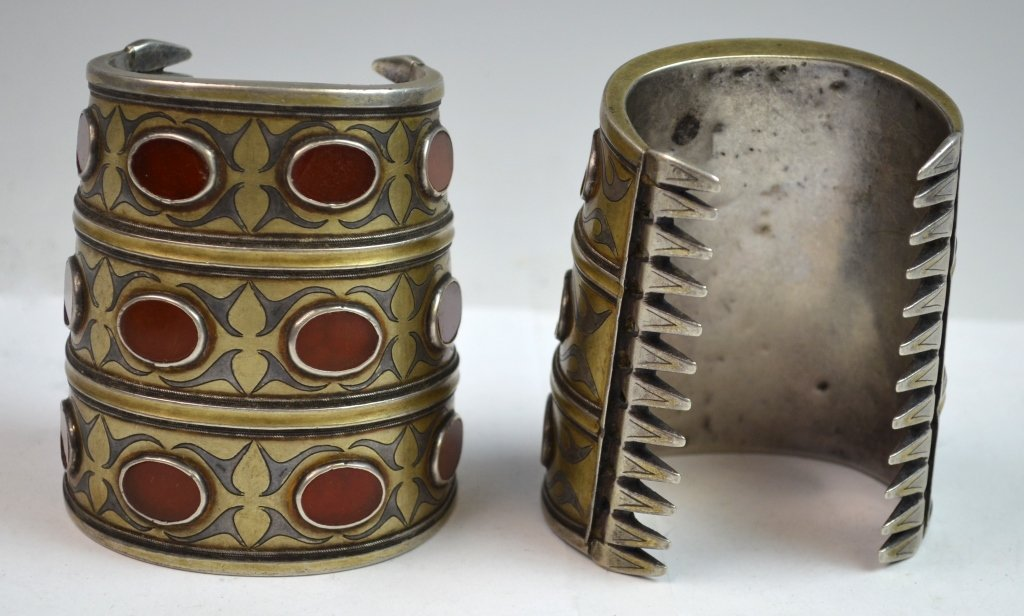 Two 19th C. Silver & Agate Inlaid Bracelet